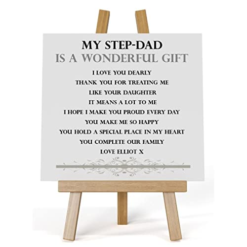 personalised wooden message plaque stepdad from step daughter complete with stand glossy