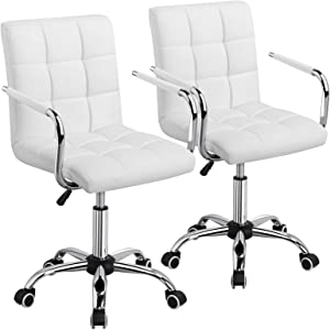 YAHEETECH Adjustable Swivle Chair Faux Leather Computer Office Desk Chair Gas Lift Chrome Base On Wheels White