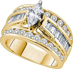 14kt Yellow Gold Womens Marquise Diamond Solitaire Bridal Wedding Engagement Ring 3.00 Cttw (Certified)