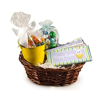Image Unavailable. Image not available for. Color: Jelly Bean and Chocolate Filled Small Easter Gift Basket