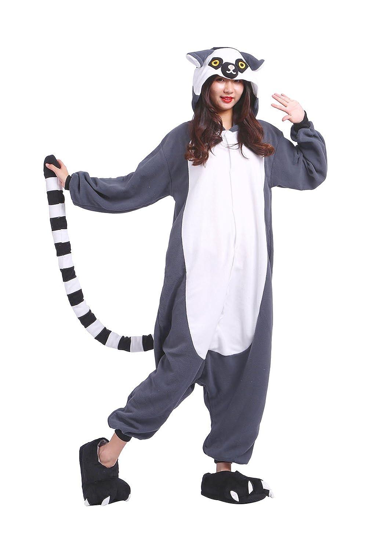 DarkCom Adulto Mamelucos Mujeres Pijamas Sleepsuit Esponjoso Kigurumi Disfraces De Halloween Traje De Lemur