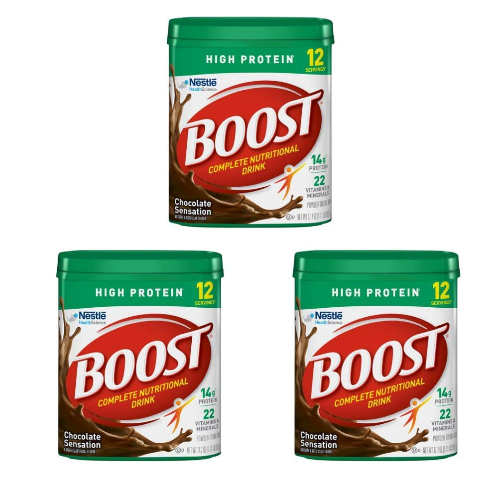 Boost High Protein Powder Drink Mix, Chocolate Sensation, 17.7 Ounce Canister - 3 pack