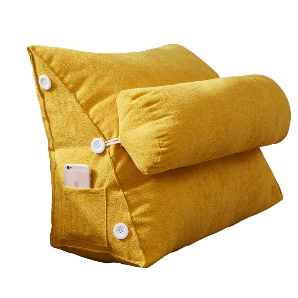Lil Band Head Pillow Triangle Cushion, Sofa Office Bay Window Lumbar Pillow/Lumbar Support Waist/Pillow (can Be Adjusted in Three Steps) (Color : Yellow)