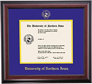 OCM Diploma Frames | University of Northern Iowa Panther | Displays Diploma Certificate 8.5 x 11 | Purple/Yellow Mat | Home Office & Office Professional | Education Framed Diploma | Graduation Gifts