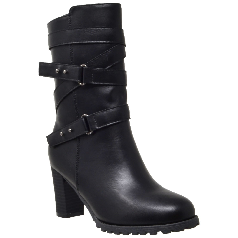 Women's Mid Calf Boot Strappy Black Buckle Studded Block Heel Shoes Black SZ 7