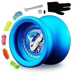 MAGICYOYO Responsive Yoyo T9 Shark-Blue, Professional Alloy Yo Yo for Kids + Bonus Unresponsive Yoyo Bearing + Bearing Tool + Glove + 5 Strings