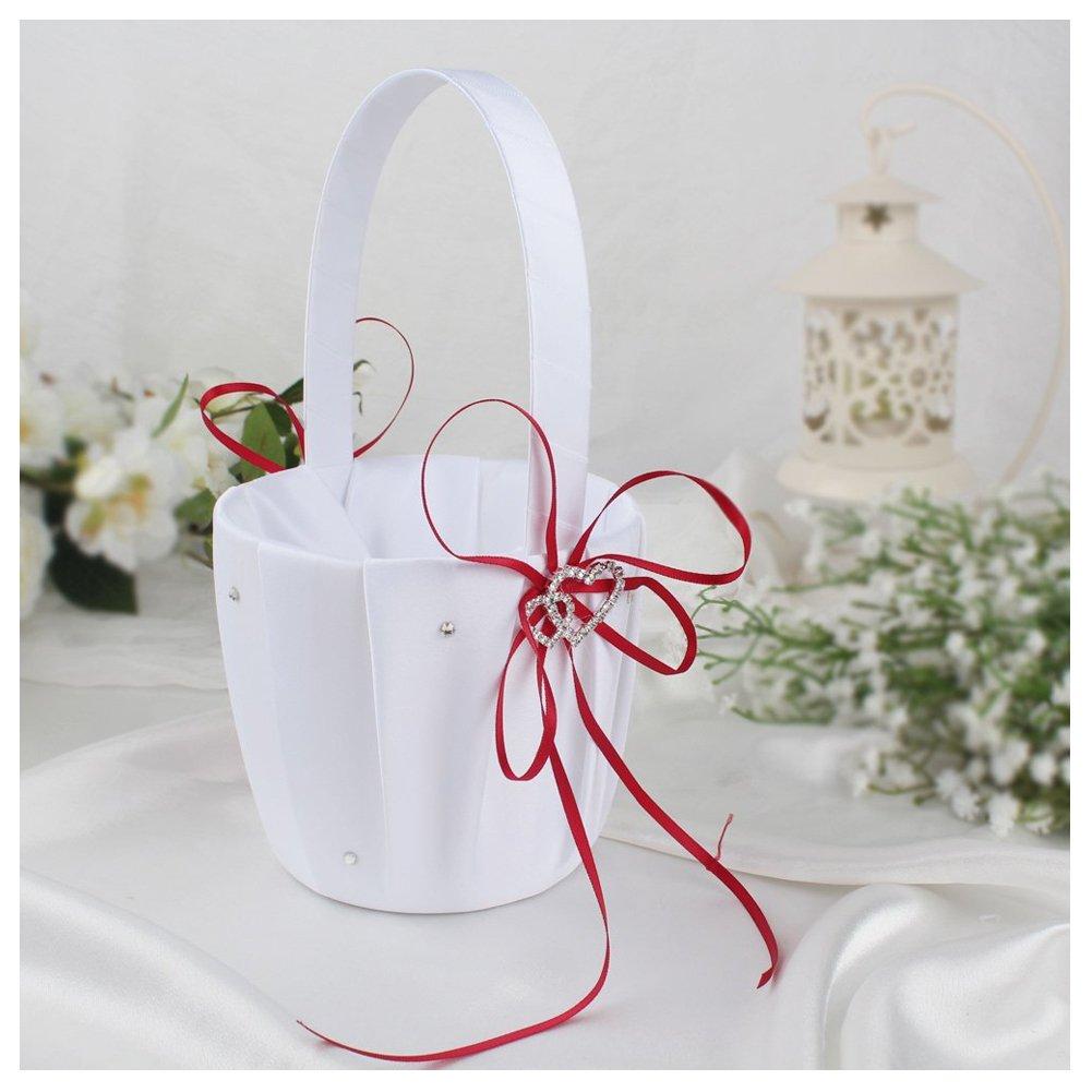 SODIAL Double Heart Wedding Flower Girl Basket White Satin Rhinestone Decor Red Wedding Ceremony Party Favor