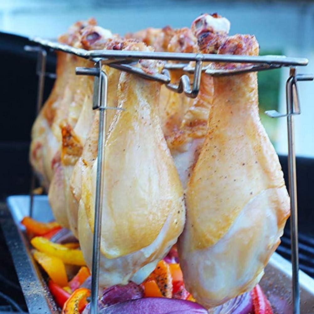 Crazywind Support de poulet en acier inoxydable anti-adhésif pour barbecue A
