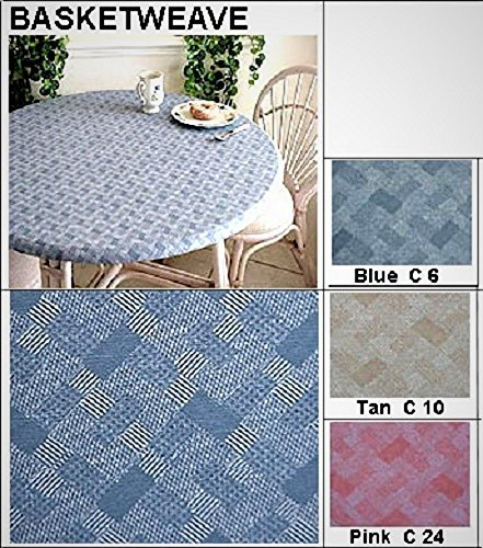 Brown Basketweave - Elastic Edge Round Fitted Vinyl Tablecloth fit 36