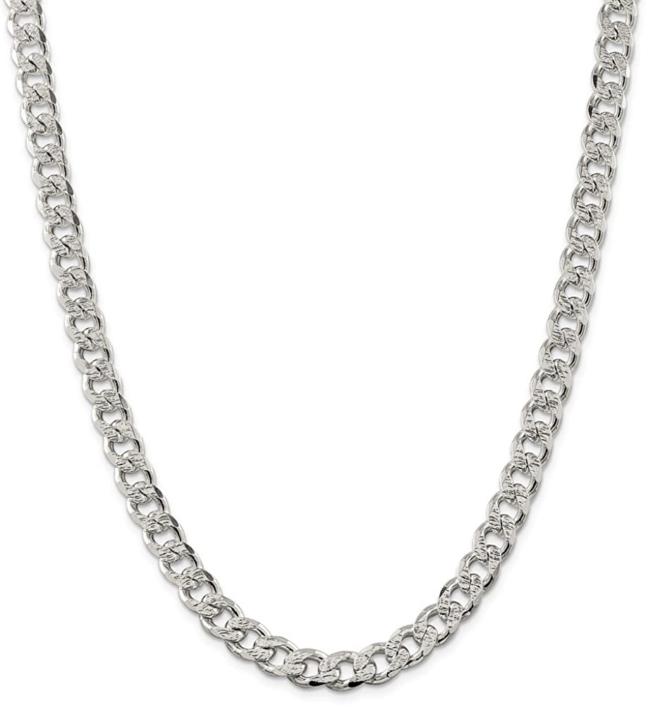 925 Sterling Silver 9.1mm Pave Curb Chain 26 Inch