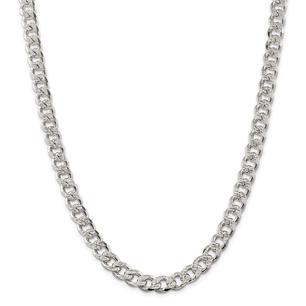 Sterling Silver 9.15mm Pavé Curb Chain Bracelet - 9 Inch