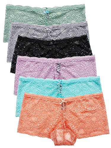 Barbra's 6 Pack of Women's Plus Size Lace Boyshort Panties (3XL)
