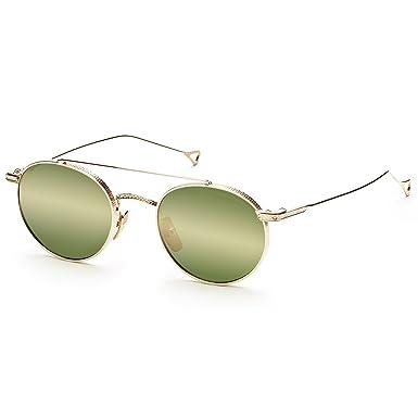 e78142f73f5a Amazon.com  Dita Journey Sunglasses 24001C 12K Gold   Vintage Green Gold  Flash AR Lens  Dita  Clothing