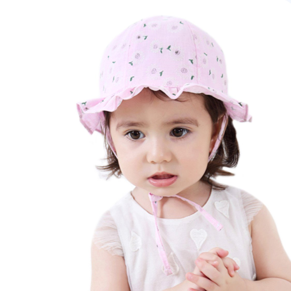 iHomey Baby Toddler Girls Wide Brim Sun Hat with Chin Strap Cotton UPF 50+ Bucket Hat