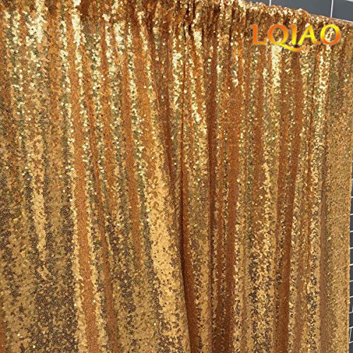 LQIAO 20x10ft-Sequin Backdrop Gold Sequin Curtain Photography Booth Backdrop for Wedding/Party Decoration(600x300cm) by LQIAO