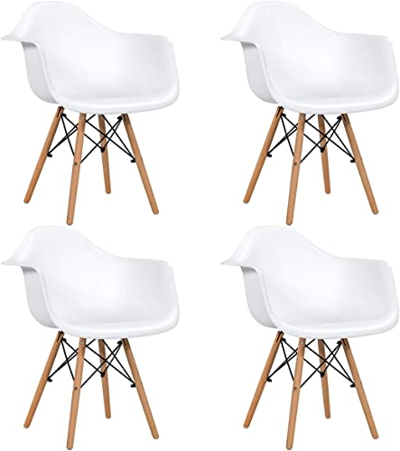 Giantex Set of 4 Modern Dining Chairs w/Natural Wood Leg