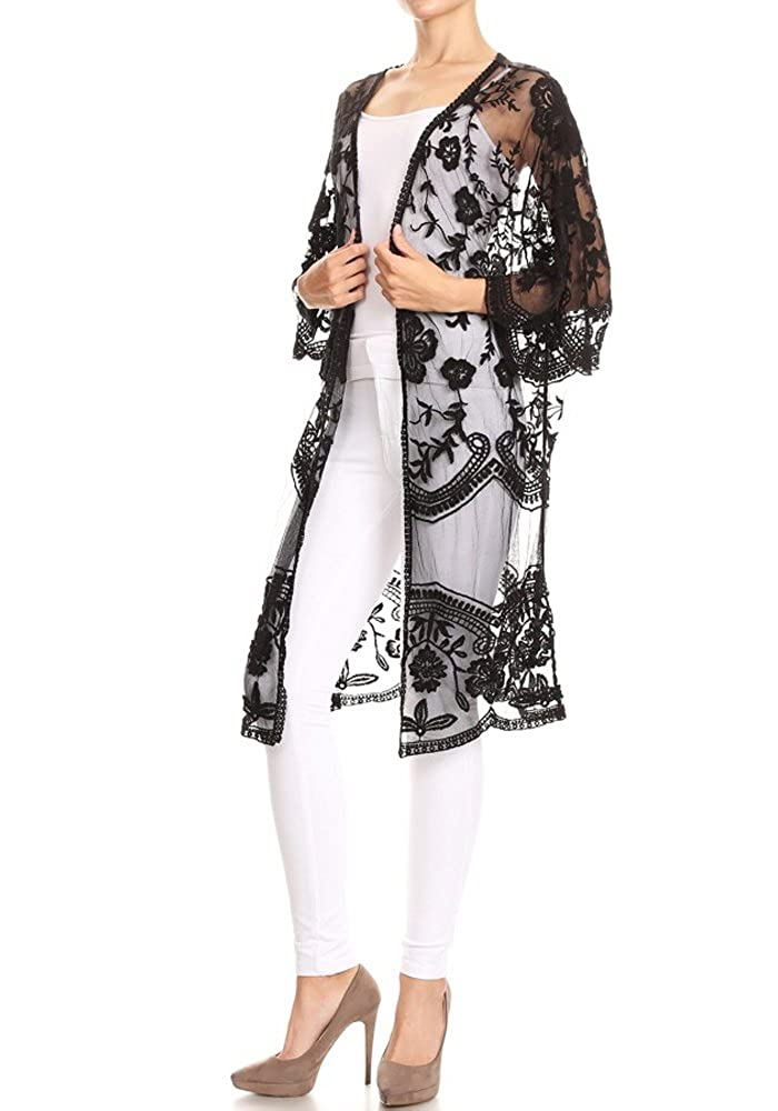 1920s Shawls, Scarves and Evening Jacket Tips Anna-Kaci Womens Long Embroidered Lace Kimono Cardigan with Half Sleeves $29.99 AT vintagedancer.com
