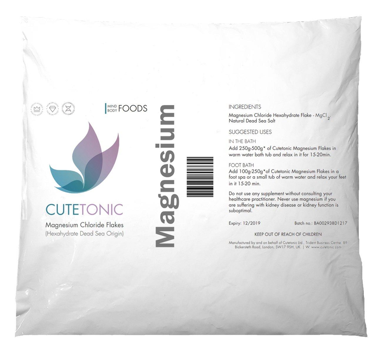 Cutetonic Hojas de cloruro de magnesio (Magnesium Chloride Flakes) ultra puro, origen del mar muerto (en bolsa) (2KG): Amazon.es: Salud y cuidado personal