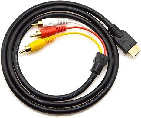 Cable HDMI a RCA, 1,5 m, HDMI macho a 3RCA, vídeo audio componente AV, cable adaptador convertidor para HDTV PC DVD y la mayoría de los proyectores LCD (no para PS4) (negro):