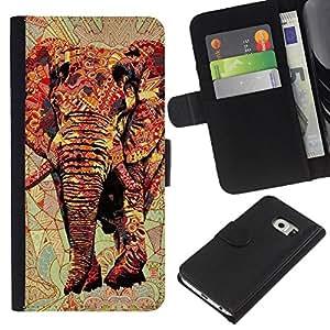 WINCASE ( No Para Normal S6 ) Cuadro Funda Voltear Cuero Ranura Tarjetas TPU Carcasas Protectora Cover Case Para Samsung Galaxy S6 EDGE - el arte de África roja majestuosa selva