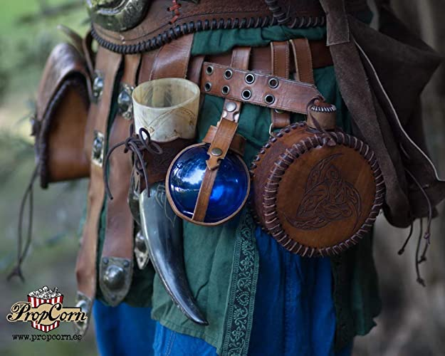 7d2ba4c0e4e Blue Potion Bottle with Leather Holder Potion. Flask DRINKING Bottle for  Larp, Costume and