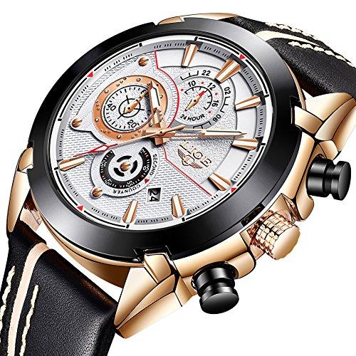 Big Date Mens Wrist Watch - LIGE Watches Mens Chronograph Waterproof Sports Analog Quartz Watch Men Luxury Fashion Big Face Leather Strap Date Gents Business Dress Wrist Watch