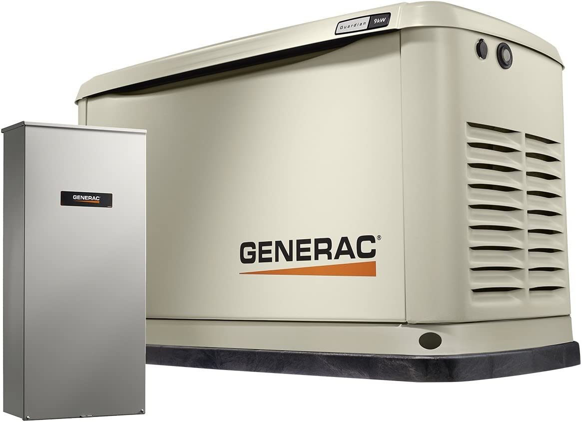 Generac Guardian 7030 9 8 KW Air-Cooled Standby Generator w WiFi 100A Switch HSB , Aluminum