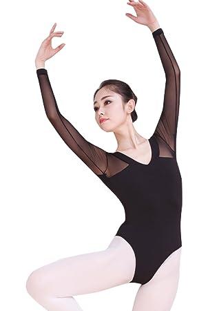 FEOYA Justaucorps Femme Danse Classique Vetêment Ballet Léotard Femme  Combinaison Danse Gymnastique Manche Longue Noir acd0119705f