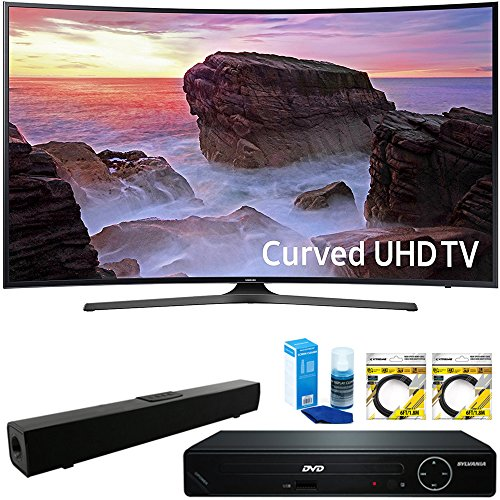 Samsung Curved 65 4K HDR Ultra HD Smart LED TV 2017 Model (UN65MU6500FXZA) with HDMI HD DVD Player, Solo X3 B.tooth Home Theater Sound Bar, 2x 6ft HDMI Cable & Screen Cleaner for LED TVs