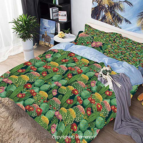 - Three-Piece Bed,Garden Flowers Cactus Texas Desert Botanic Various Plants with Spikes Pattern,Queen Size,Include 1 Quilt Cover+2 Pillow case,Multicolor