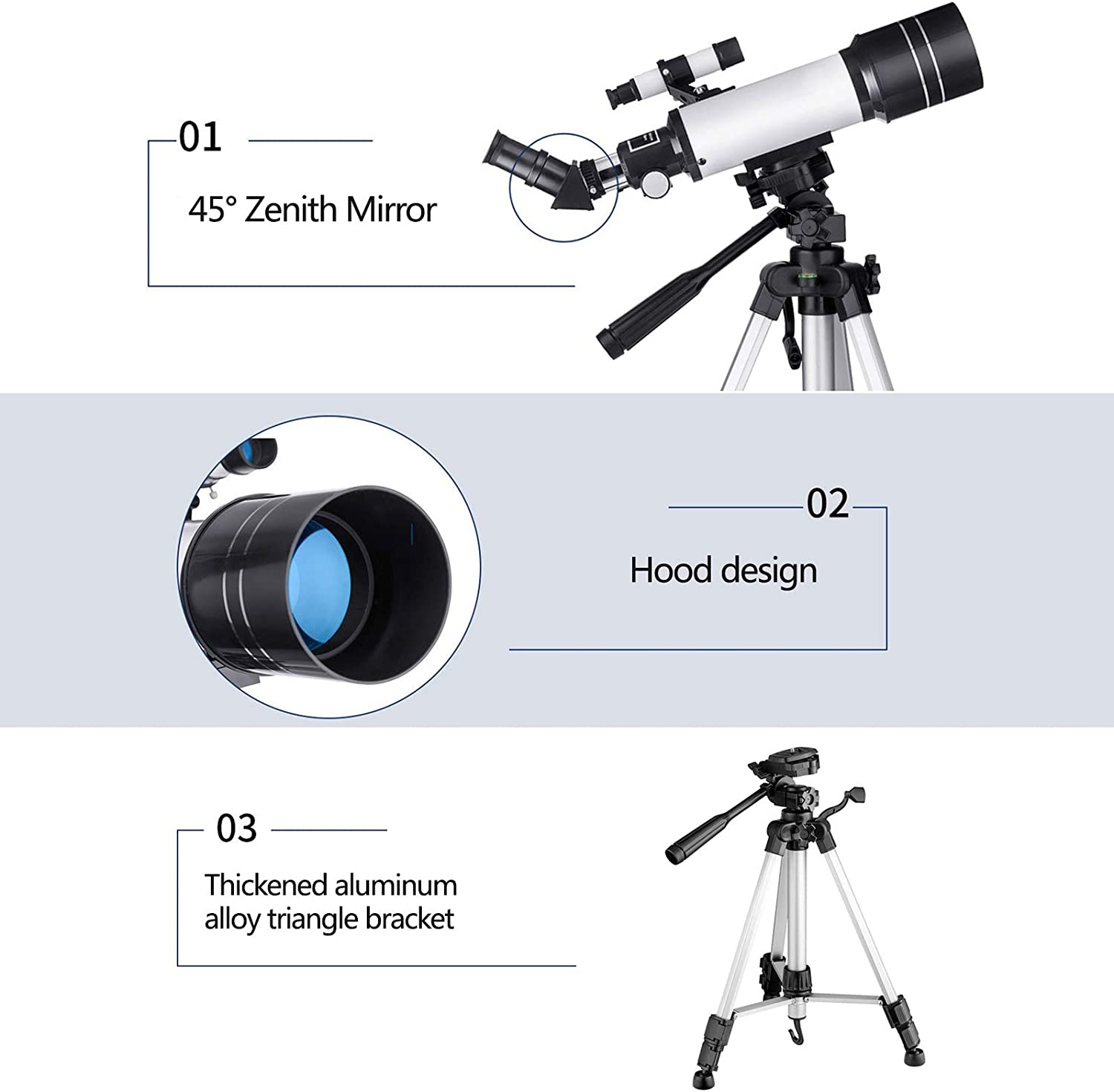 ALLWIN 40070mm Starter Scope Astronomy Telescopes,16X-199X HD Monocular Refractor Telescope,for Kids Beginners Adult,with Backpack,Phone Adapter,Tripod Moon Filter,Camera Controller