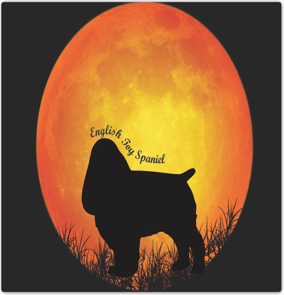 4 by 4 Rikki Knight English Toy Spaniel Dog Silhouette by Moon Design Ceramic Art Tile