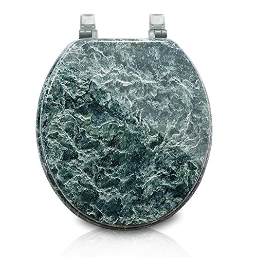Trimmer Marblized Molded Wood Toilet Seats Faux-marble Painting In Green Marble - Wood Composite with Water and Stain-resistant Finish by Trimmer