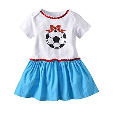 78ff39e29e0ba Amazon.com: Toddler Infant Baby Girl Dress Soccer Print Sequins ...