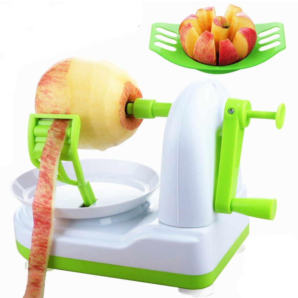 2 IN 1 Apple Peeler with Fruit Slicer Corer Divider Potato Pear Pie Bake Chef Splitter Corer Cutter Cut Knife Creative Kitchen Gadget (Fresh Green)