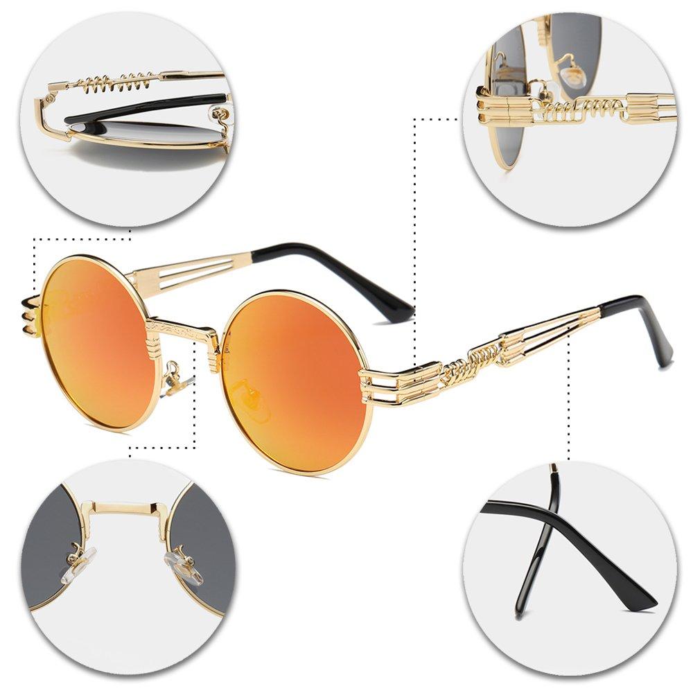 f64c7a386a BOZEVON Estilo retro de Steampunk inspiró las gafas de sol redondas del  círculo del metal para