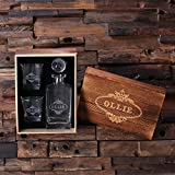 Personalized Whiskey Decanter with Round Bottle Lid 2 Whiskey Glasses and Wood Box