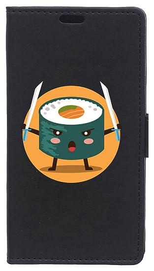 BeCool Funda Libro para Xiaomi Mi6- Carcasa con función Soporte, Ranuras para tarjetes y Billetes, Diseño Sushi Ninja con katanas