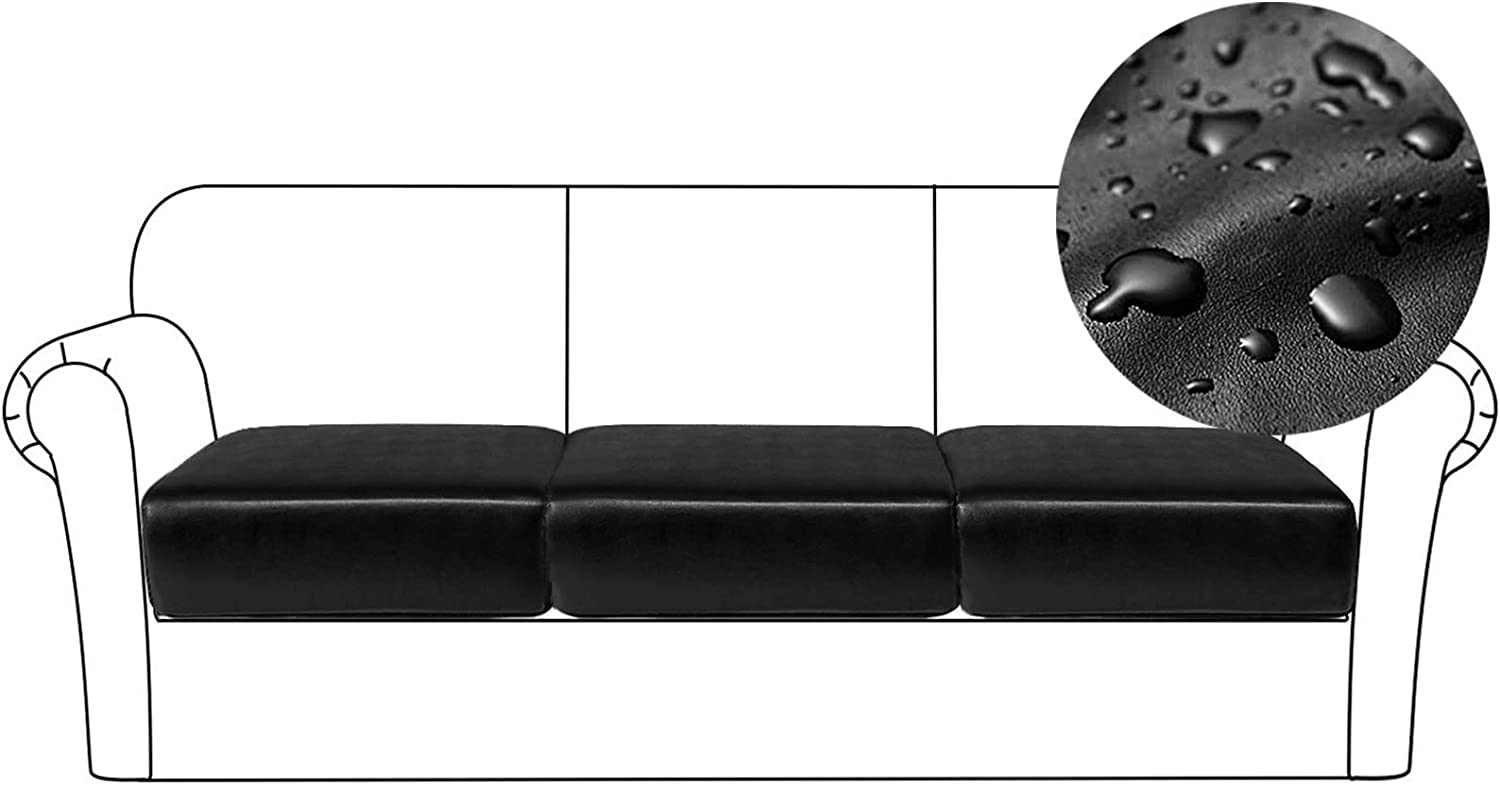 PU Leather Sofa Cushion Covers Sofa Seat Slipcover with Elastic Bottom Waterproof Furniture Protector for Children, Set of 3 (3 Pieces, Black)