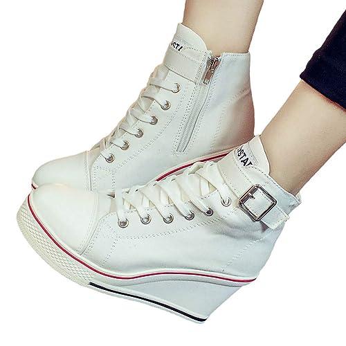 Zapatillas de Cuña Mujeres, Moda Cordones y Cremallera Zapatos de Lona Mujer Cuñas Altas Tacón Zapatillas Zapatos de Plataforma Zapatillas de Deporte Cinco ...