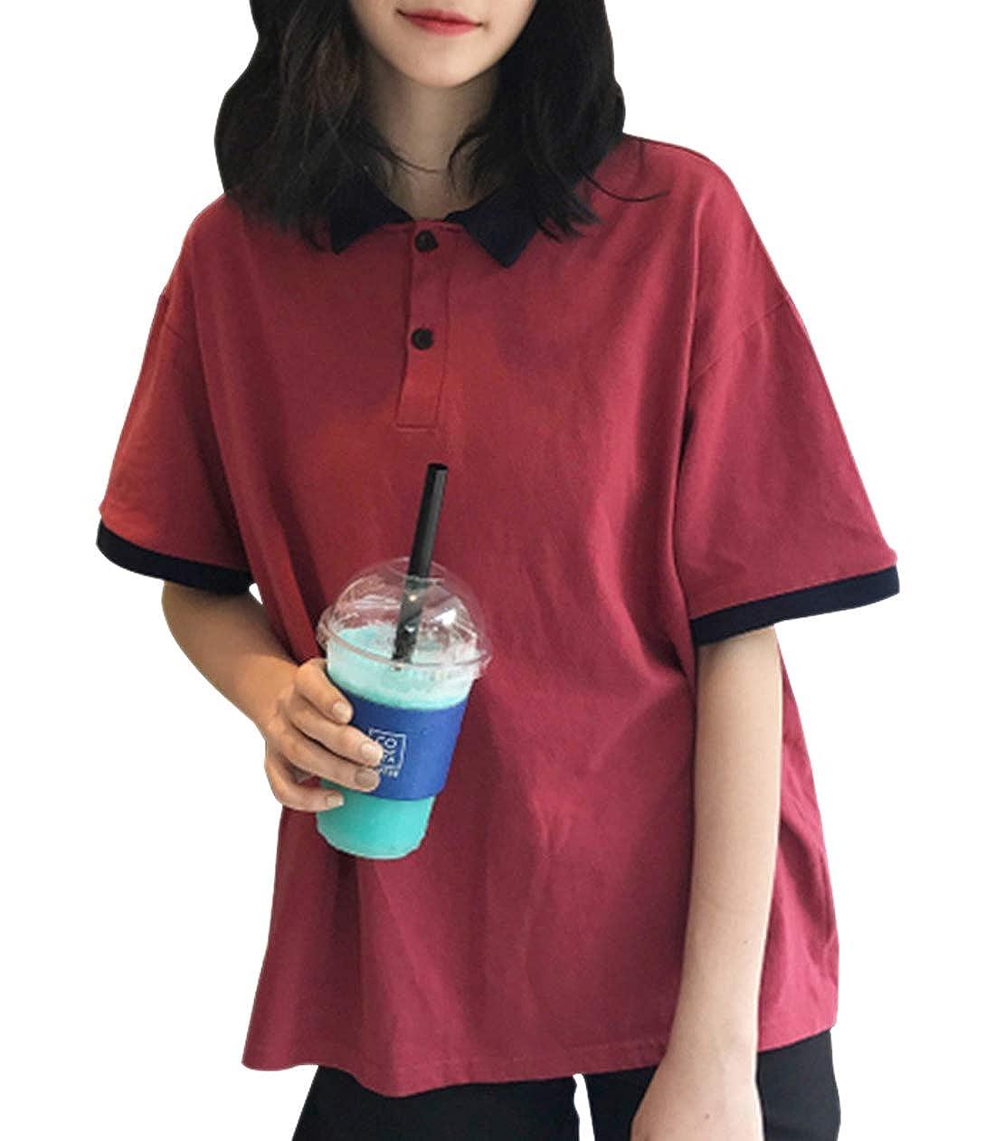 Chartou Womens Casual 2-Button Short Sleeve Contrast Color Junior Cute Polo Shirts