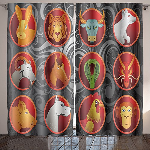 Analisahome chinese zodiac animal signs set in cartoon style with decorative background Bedroom/Living Room/2 Panels by Analisahome