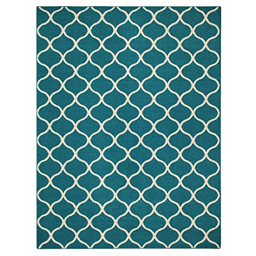 Maples Rugs Rebecca 7 x 10 Large Area Rugs [Made in USA] for Living, Bedroom, and Dining Room, Teal/Sand