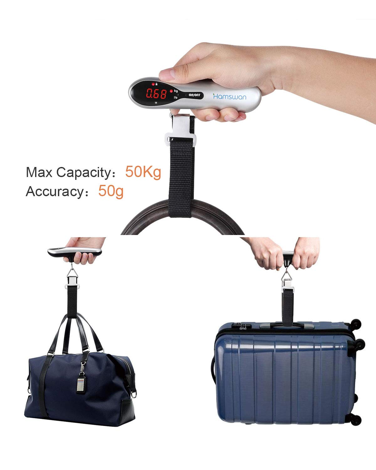 2 x AAA Batteries Included Luggage Scale HAMSWAN Portable Digital Travel Suitcase Scales Hanging Scales Luggage Weighing Scale with Tare Function for Travel Outdoor Home 110 lb// 50KG Capacity