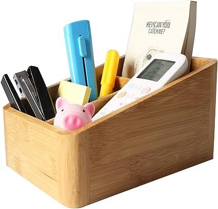 Catekro Caja de almacenamiento de escritorio de bambú para ...