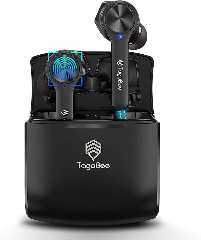 TagoBee Auriculares Bluetooth TWS Cascos inalambricos TBT11 Auriculares con microfono para movil Micrófono con cancelación de Ruido 30H Play Time Impermeables con Estuche de Carga inalámbrico(Black)