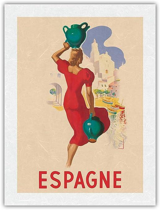 Amazon Com Spain Espagne Blonde Spanish Beauty Vintage Travel Poster By Marcias Jose Morell C 1930s Premium Unryu Rice Paper Art Print 17 X 22 In Posters Prints