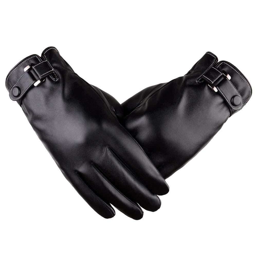 Mnyycxen Hot Sale Men Genuine Leather Winter Gloves All Fingers Touchscreen Gloves Warm Driving Motorcycle Gloves Black Work Glove (Black)
