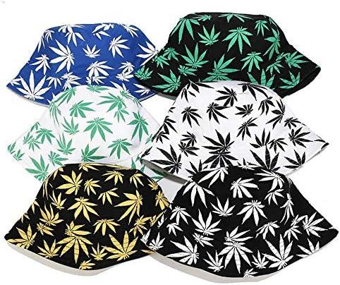 Cxssxling Unisex Sonnenhut Bucket Hat Fischerhut Cannabis Muster M/ütze Mode Bestickte Fischerh/üte Sommerhut Outdoor-Hut