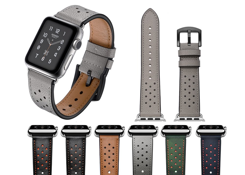 DaStrap Strap Dressy Classic Buckle Band Replacement for Apple Watch Band Leather 42mm Bands iwatch Series 1 2 3(42mm,Grey)